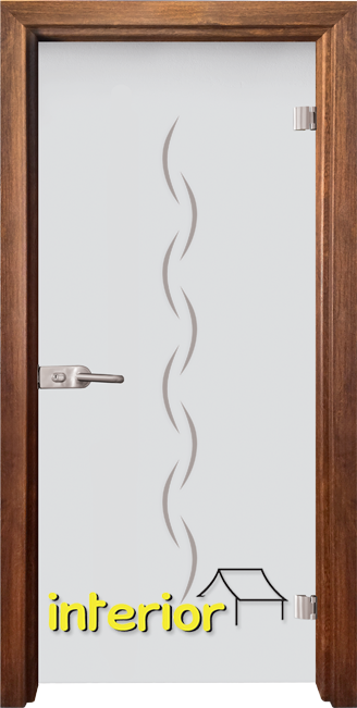 Стъклена интериорна врата модел Gravur G 13-1 с каса Златен дъб