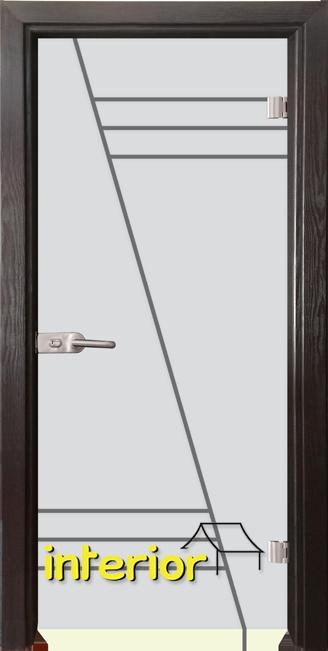 Стъклена интериорна врата модел Gravur G 13-4 с каса Венге