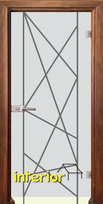 Стъклена интериорна врата модел Gravur G 13-5 с каса Златен дъб