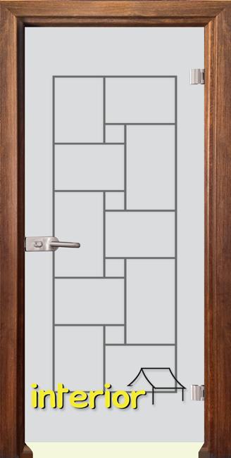 Стъклена интериорна врата модел Gravur G 13-7 с каса Златен дъб