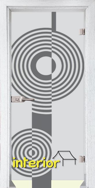Стъклена интериорна врата модел Sand G 14-6 с каса Бреза